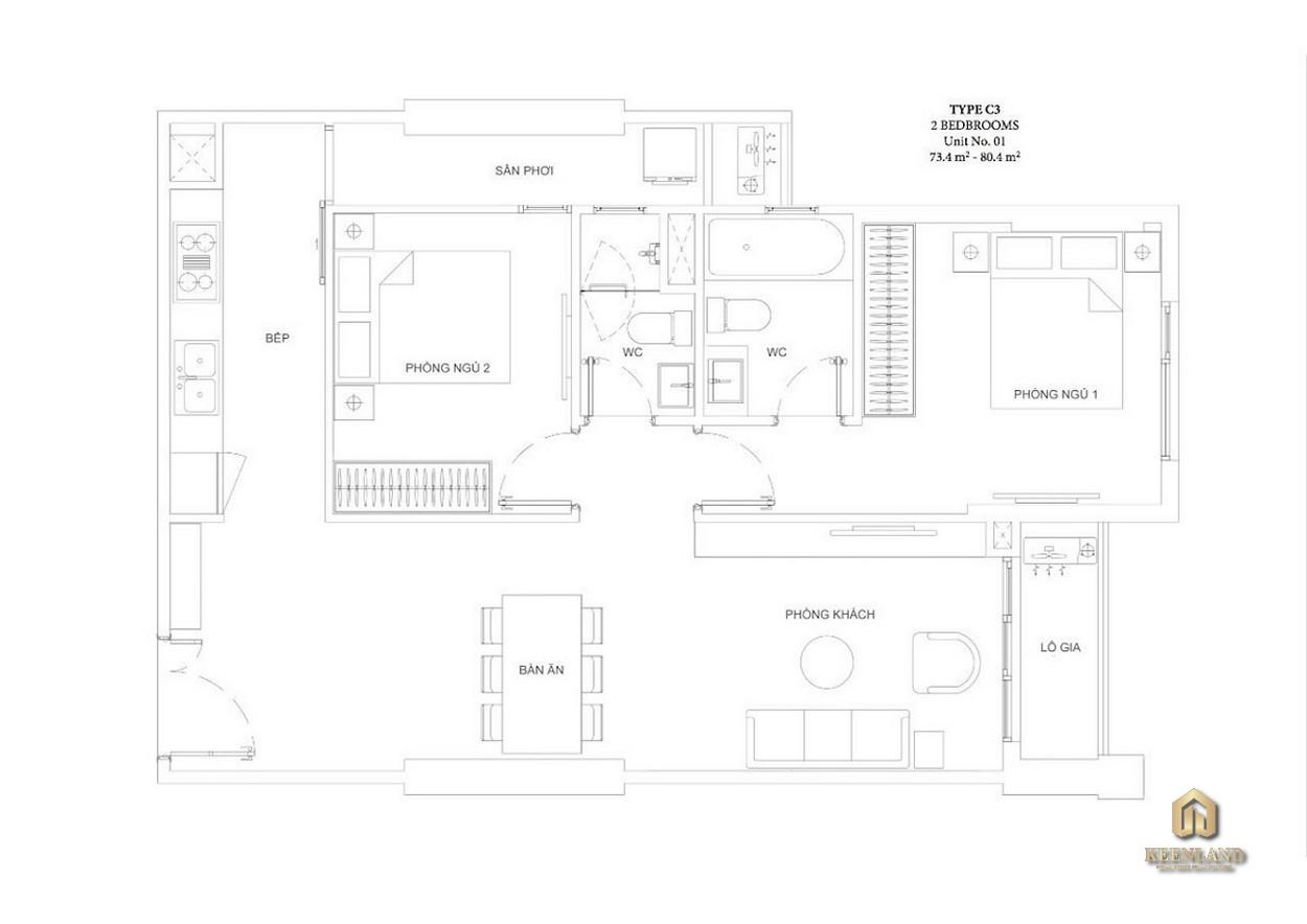 Mặt bằng căn hộ Ascent Garden Homes 2 phòng ngủ