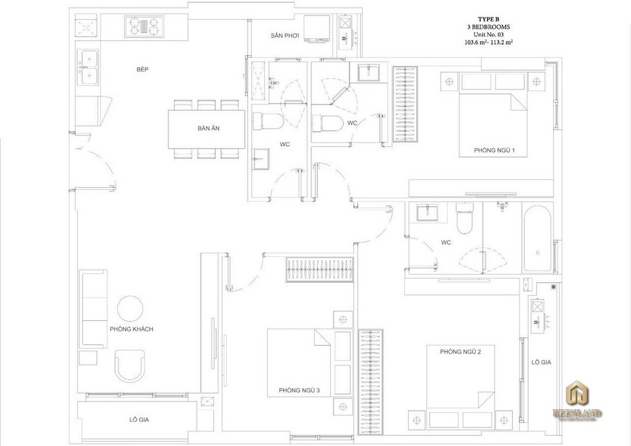 Mặt bằng căn hộ Ascent Garden Homes 3 phòng ngủ