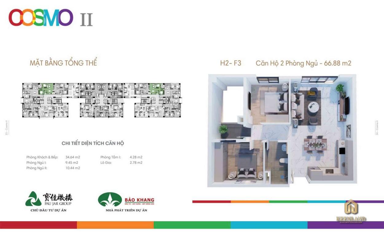 Mặt bằng căn hộ Block H - F dự án Cosmo City 2