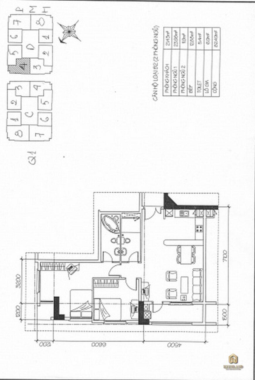 Mặt bằng căn hộ chung cư Khánh Hội 2