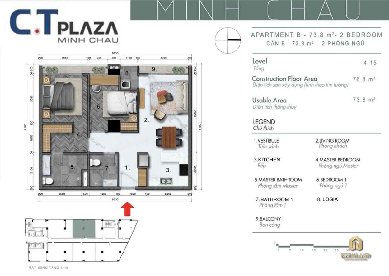 Mặt bằng căn hộ C.T Plaza Minh Châu Quận 3