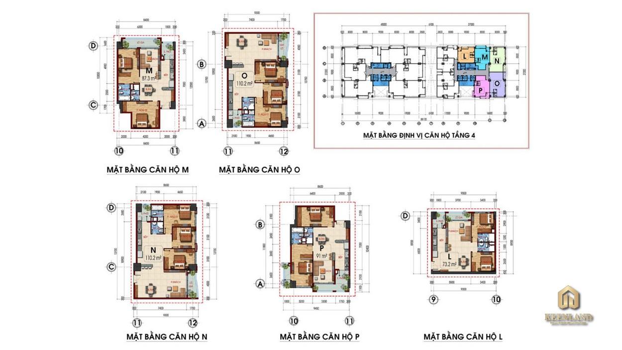 Mặt bằng căn hộ điển hình dự án Tam Đức Plaza