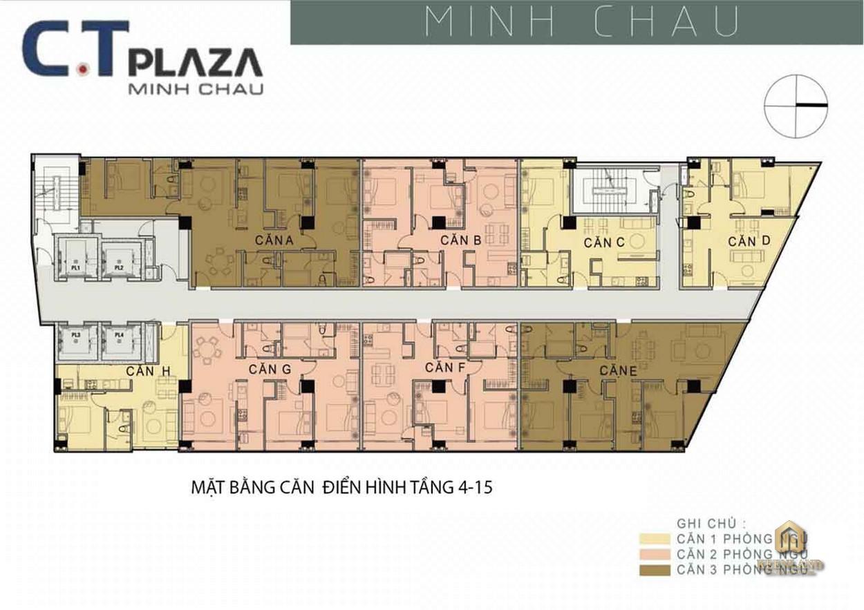 Mặt bằng căn hộ điển hình tầng 4-15 dự án C.T Plaza Minh Châu Quận 3