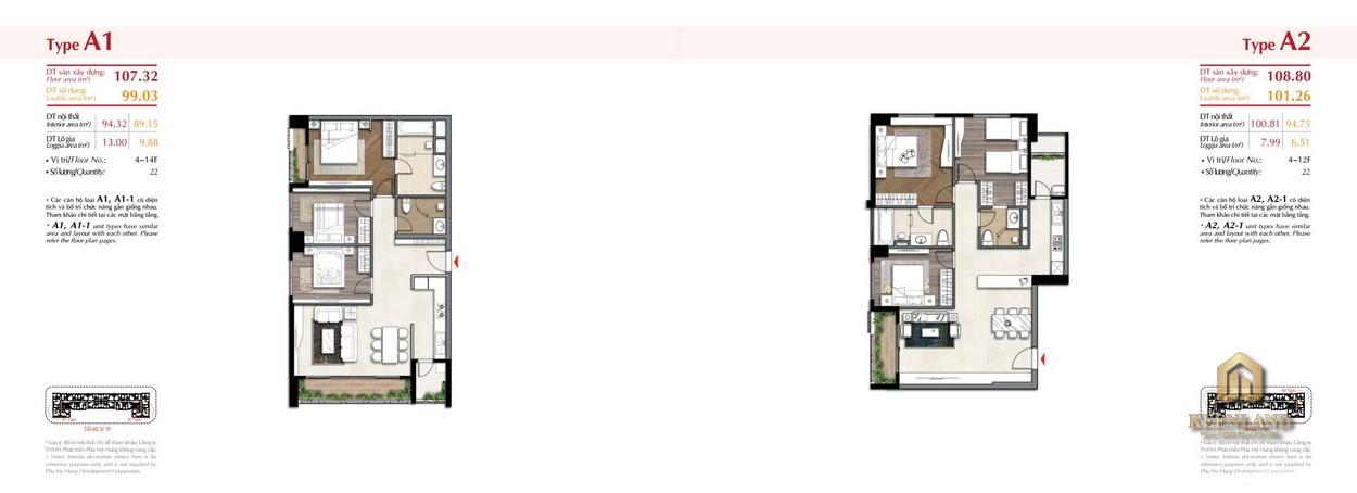Mặt bằng căn hộ điển hình The Ascentia Quận 7
