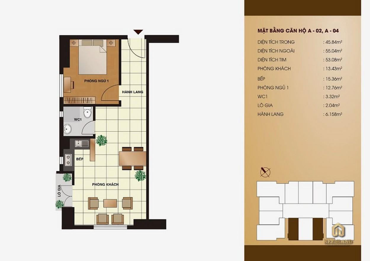 Thiết kế chi tiết căn hộ  Tân Phước Plaza 1 phòng ngủ