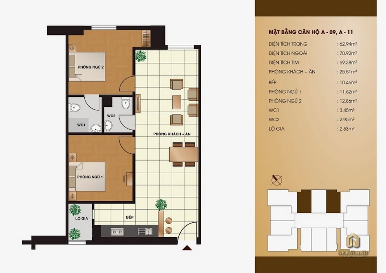 Thiết kế chi tiết căn hộ  Tân Phước Plaza 2 phòng ngủ