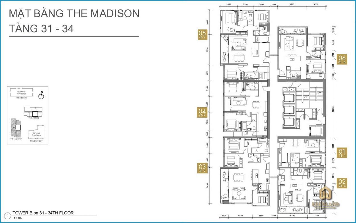 Mặt bằng căn hộ The Madison tầng 31-34