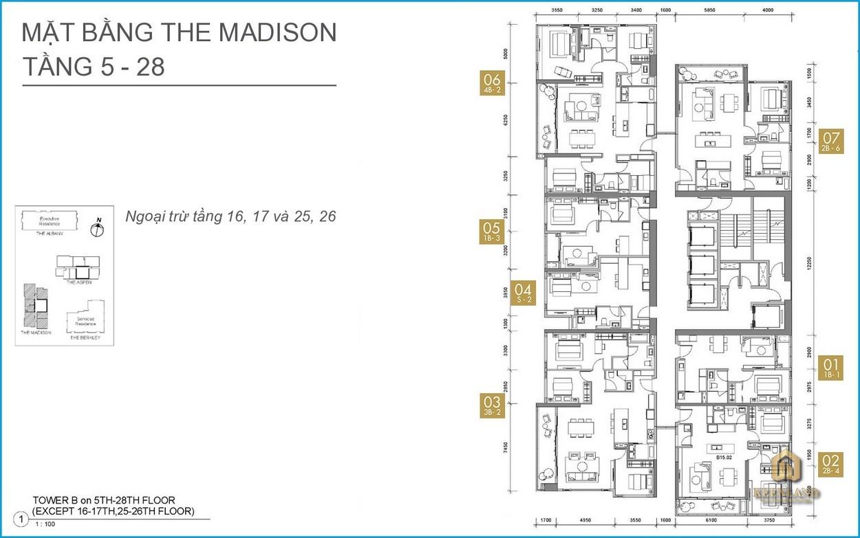 Mặt bằng căn hộ The Madison tầng 5-28