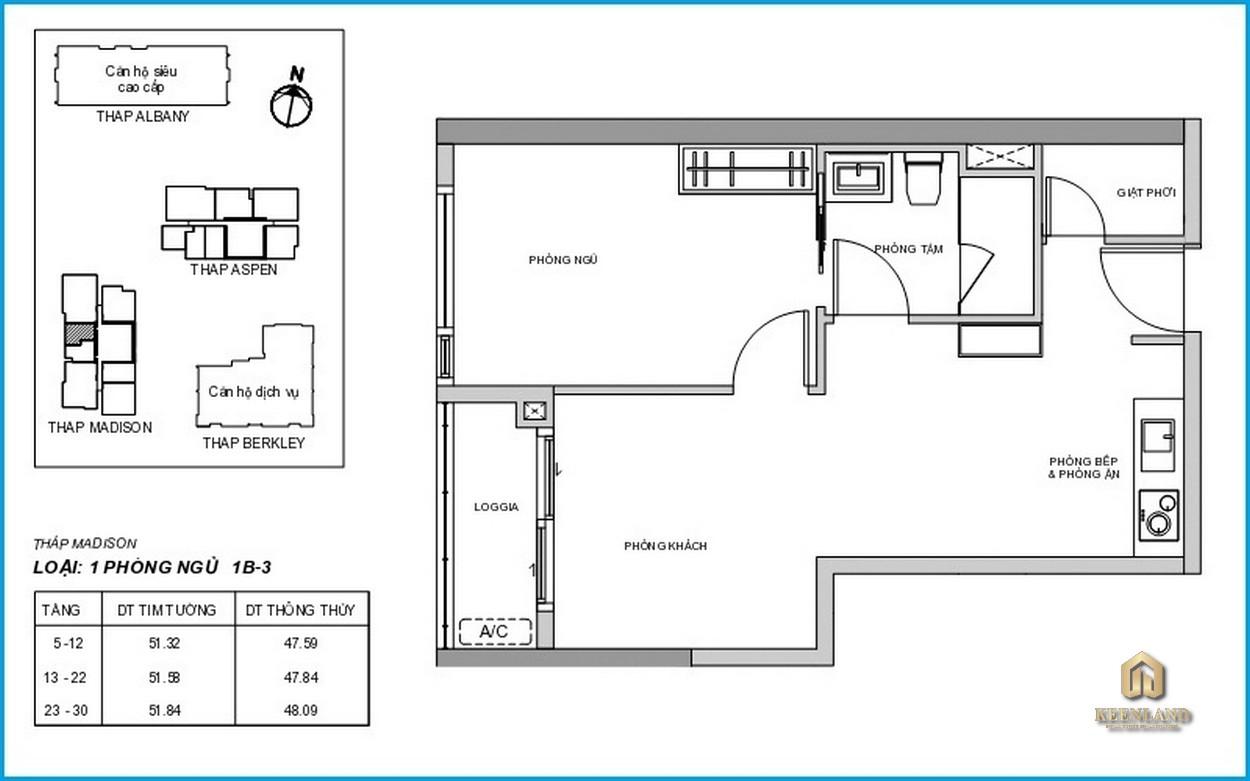 Mặt bằng chi tiết căn hộ Madison 1 phòng ngủ