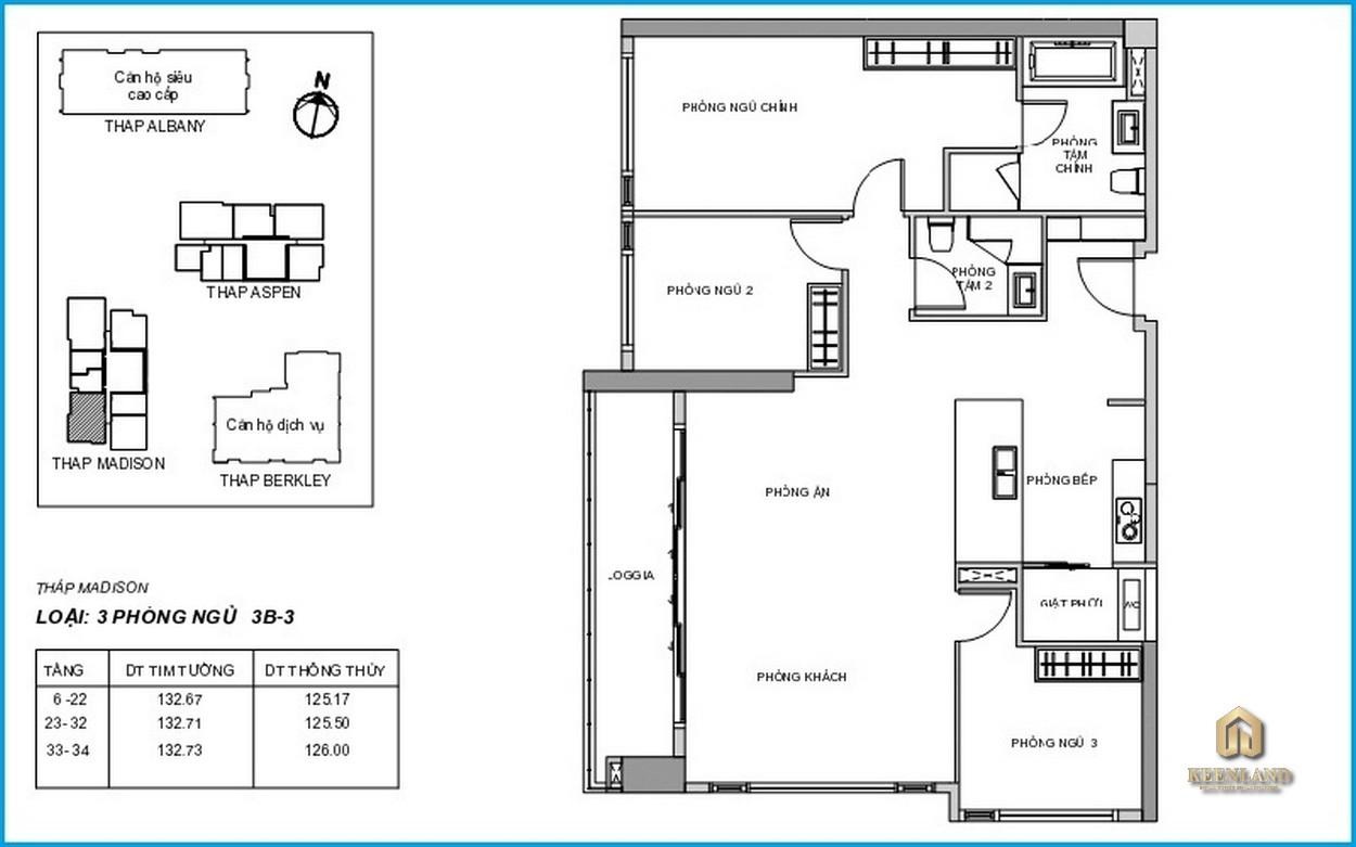 Mặt bằng chi tiết căn hộ Madison 3 phòng ngủ