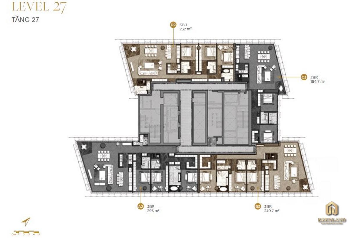Mặt bằng chi tiết tầng 27 dự án The Vertex Private Residences
