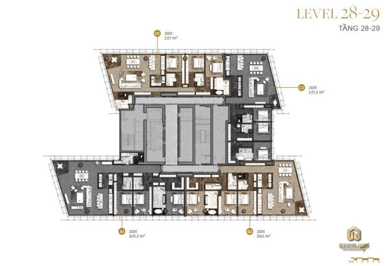 Mặt bằng chi tiết tầng 28-29 dự án The Vertex Private Residences