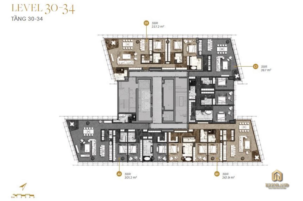 Mặt bằng chi tiết tầng 30-34 dự án The Vertex Private Residences