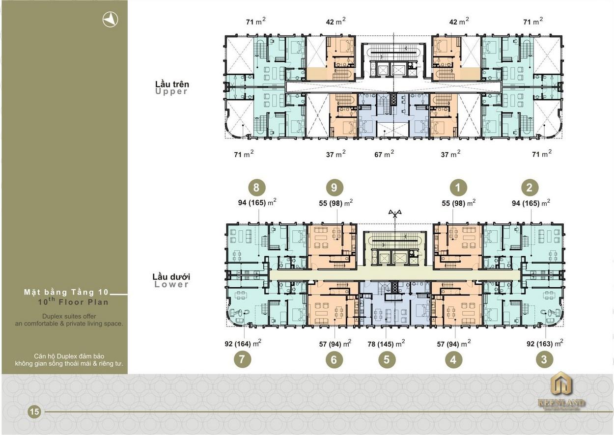 Mặt bằng điển hình tầng 10 dự án Saigon Pavillon