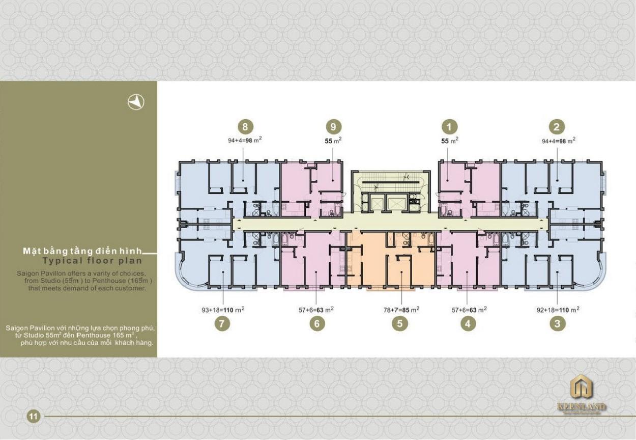 Mặt bằng điển hình tầng 2 - 9 dự án Saigon Pavillon