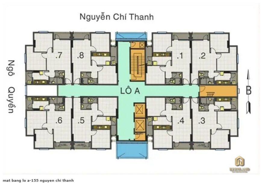 Mặt bằng Lô A chung cư 155 Nguyễn Chí Thanh
