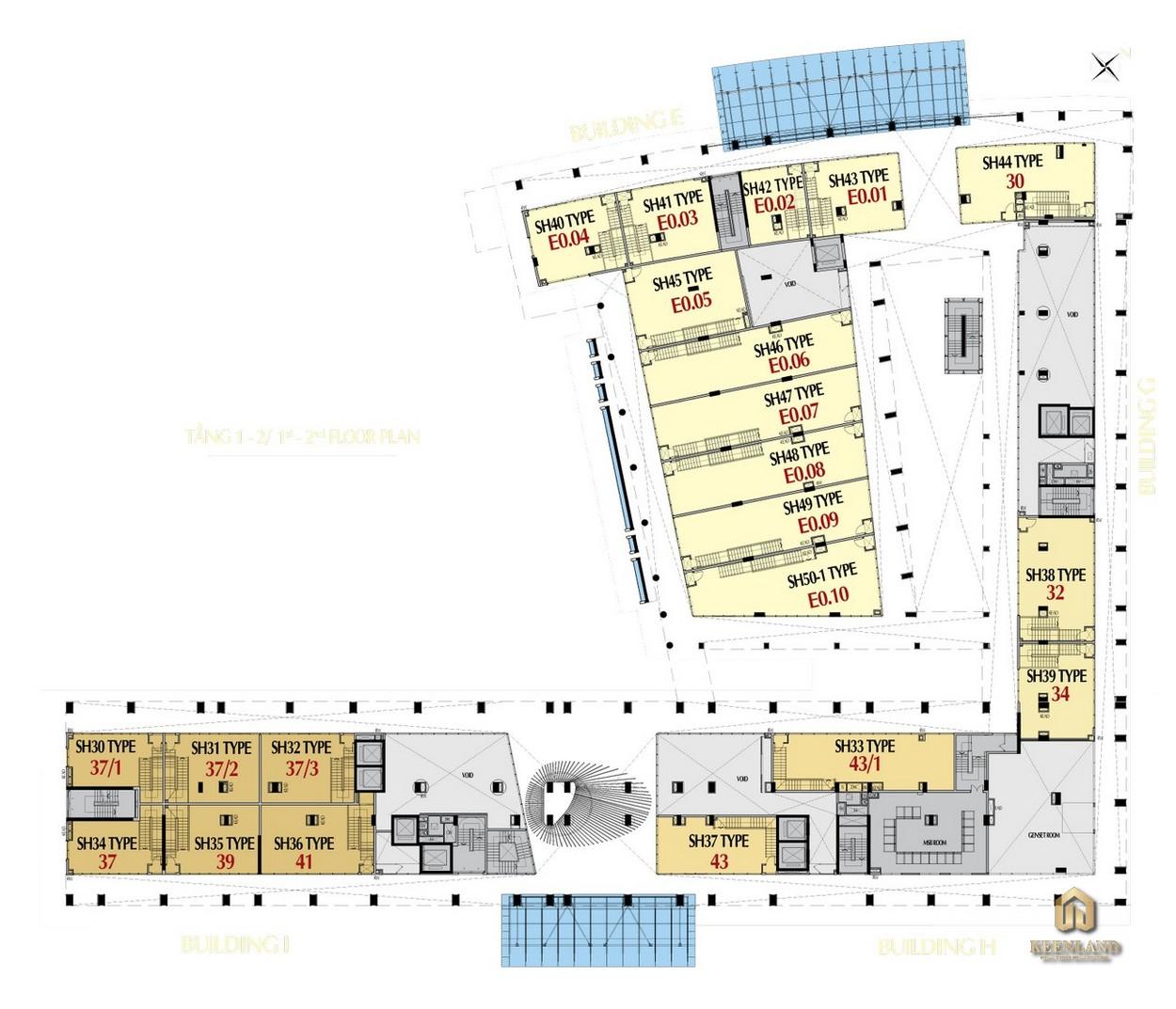 Mặt bằng tầng 1 - 2 tòa M8B dự án Midtown The Peak Quận 7