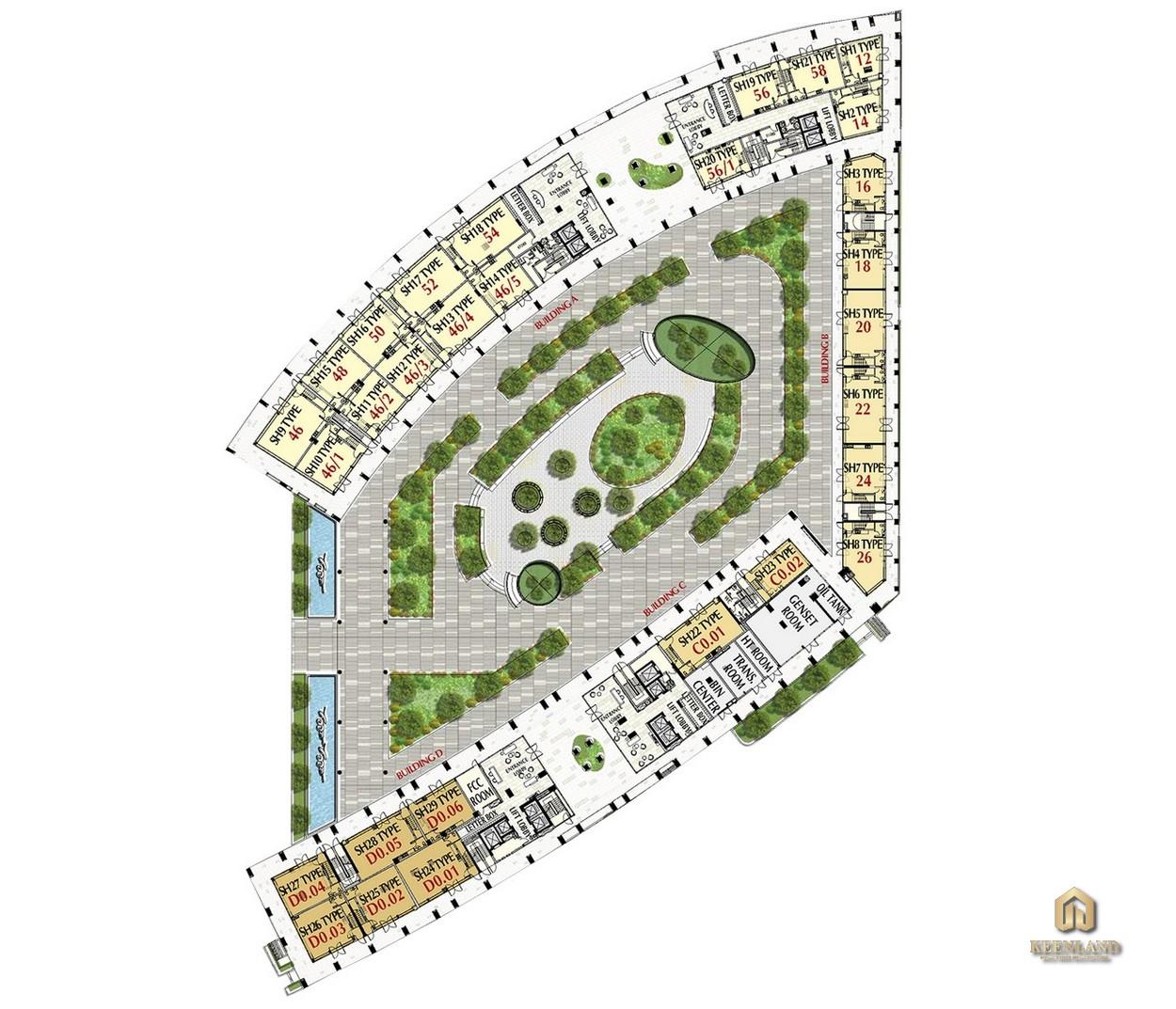 Mặt bằng tầng 1 - 3 tòa M8A dự án Midtown The Peak Quận 7