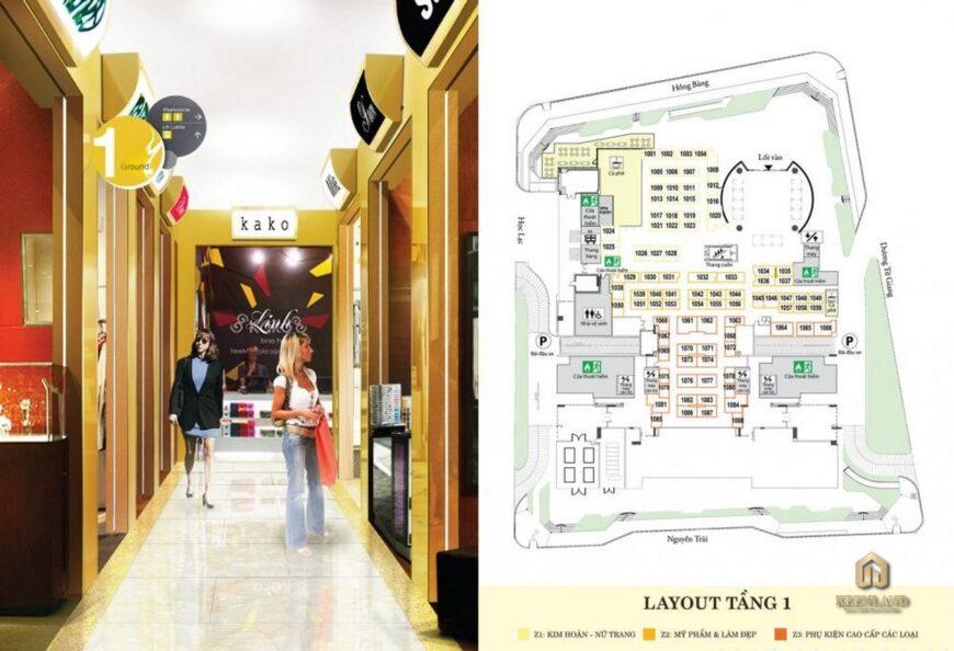 Mặt bằng tầng 1 dự án Golden Plaza Quận 5