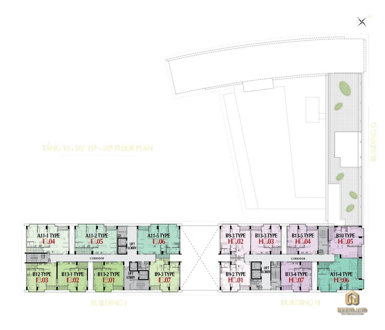 Mặt bằng tầng 15 - 20 tòa M8B dự án Midtown The Peak Quận 7