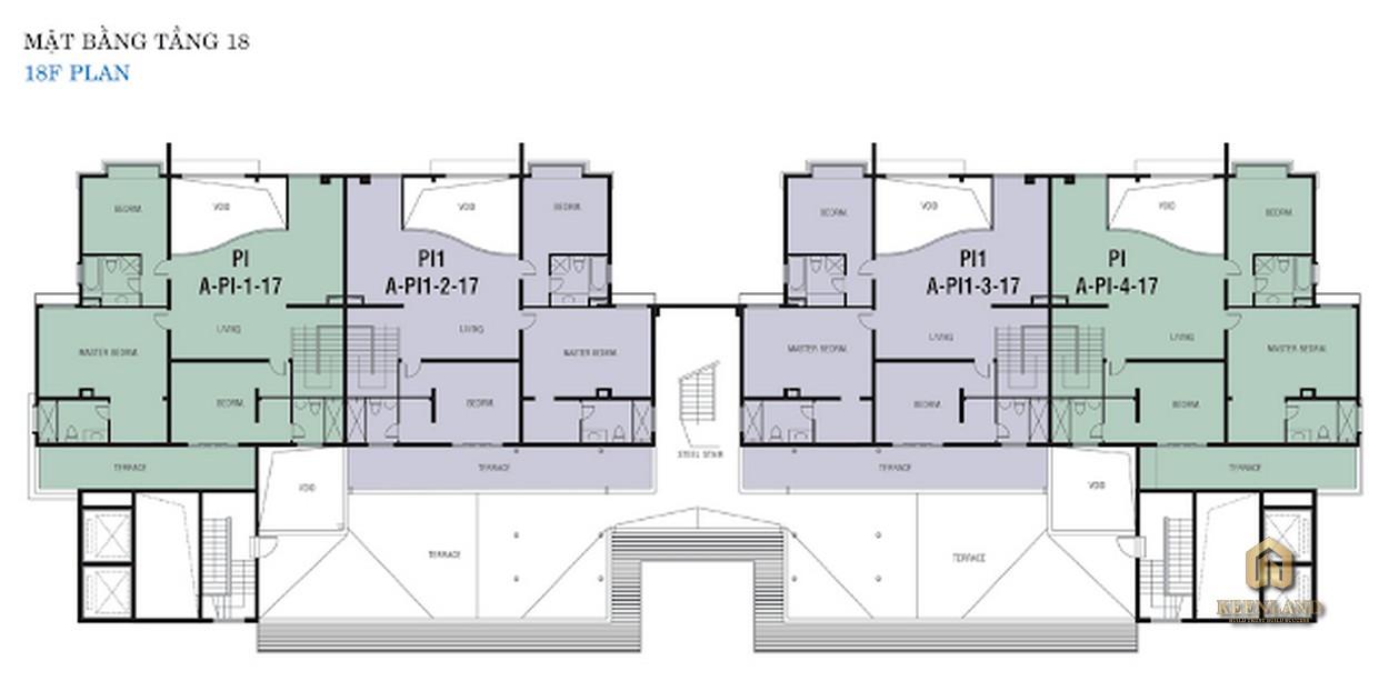 Mặt bằng tầng 18 Block A dự án Riverside Residence Quận 7