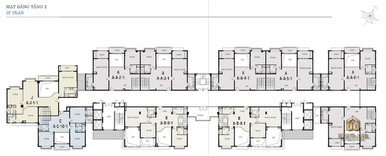 Mặt bằng tầng 2 Block A dự án Riverside Residence Quận 7
