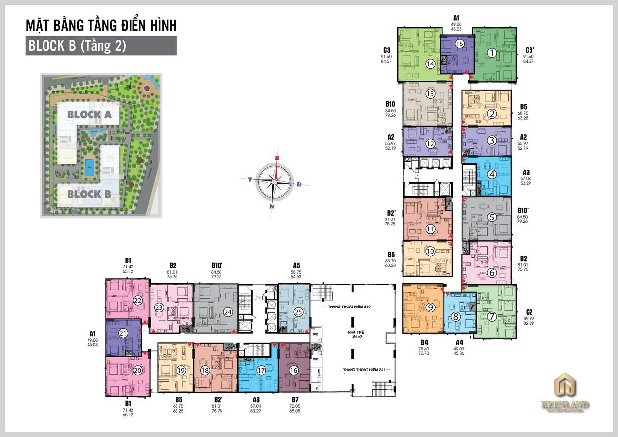 Mặt bằng tầng 2 Khu B dự án Tara Residence