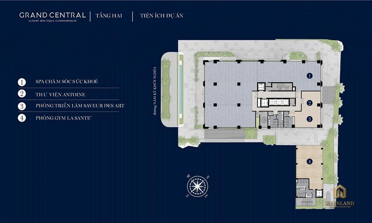 Mặt bằng tầng 2 dự án Grand Central Quận 3