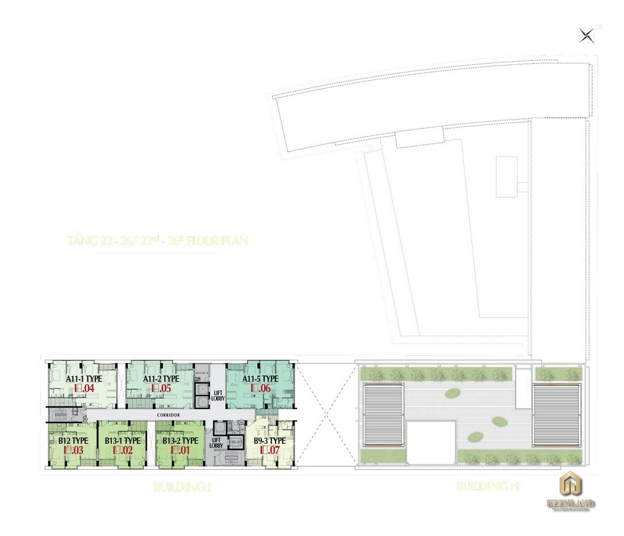 Mặt bằng tầng 22 - 26 tòa M8A dự án Midtown The Peak Quận 7