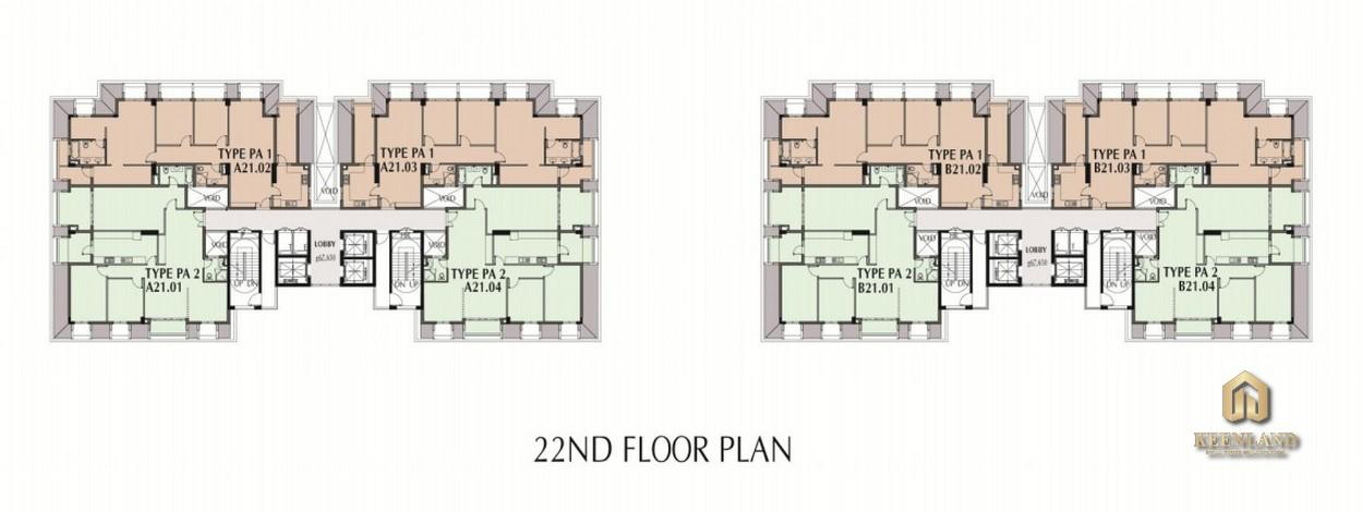 Mặt bằng tầng 22 dự án Nam Phúc Le Jardin Quận 7