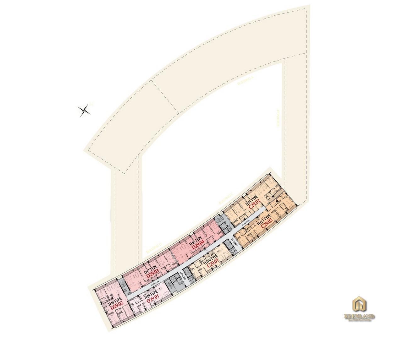 Mặt bằng tầng 30 tòa M8A dự án Midtown The Peak Quận 7