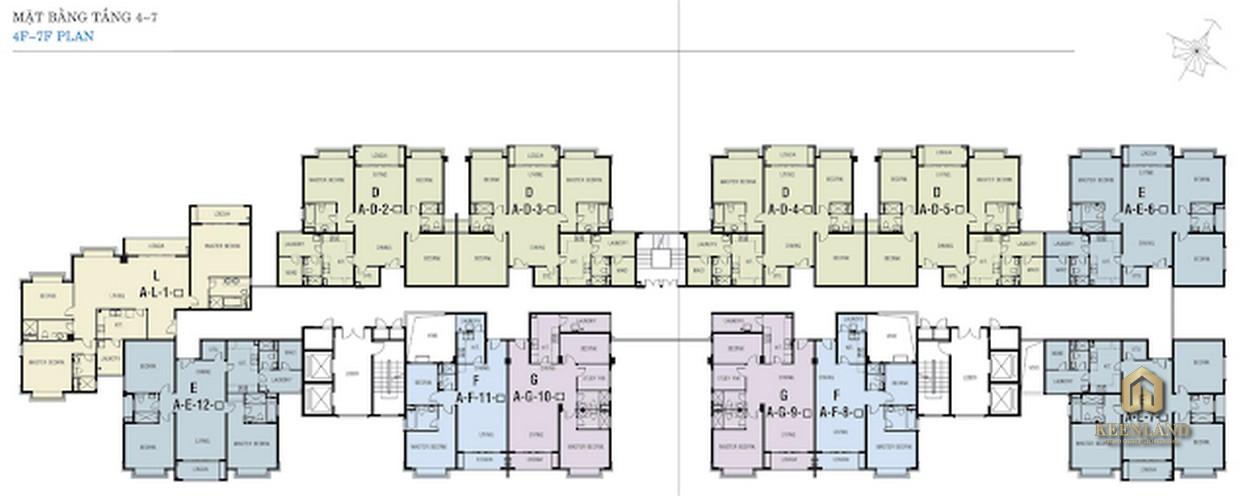 Mặt bằng tầng 4 - 7 Block A dự án Riverside Residence Quận 7