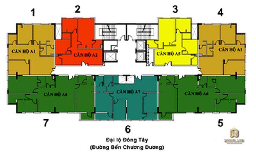 Mặt bằng tầng 4-7 cao ốc BMC