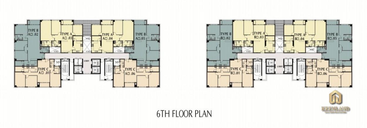 Mặt bằng tầng 6 - 21 dự án Nam Phúc Le Jardin Quận 7