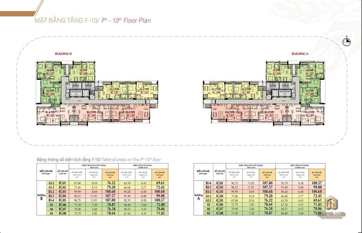 Mặt bằng tầng 7 - 10 dự án Urban Hill Phú Mỹ Hưng Quận 7