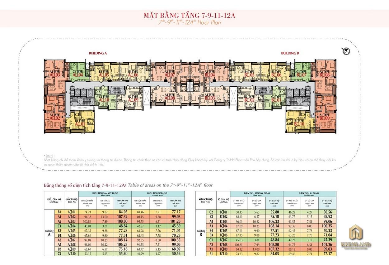 Mặt bằng tầng 7 - 9 - 11 -12a dự án The Ascentia Quận 7
