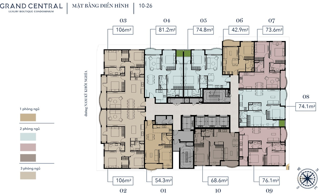 Mặt bằng tầng điển hình 10-26 dự án Grand Central Quận 3