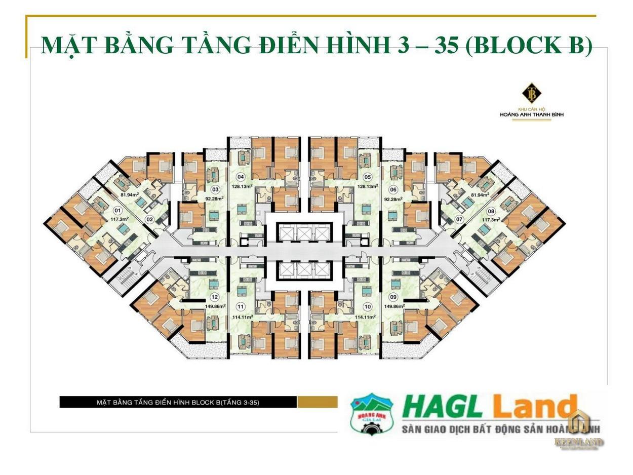 Mặt bằng tầng điển hình 3 - 35 Block B