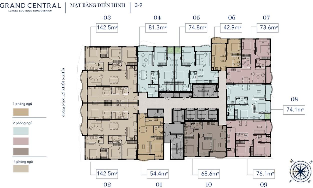 Mặt bằng tầng điển hình 3-9 dự án Grand Central Quận 3