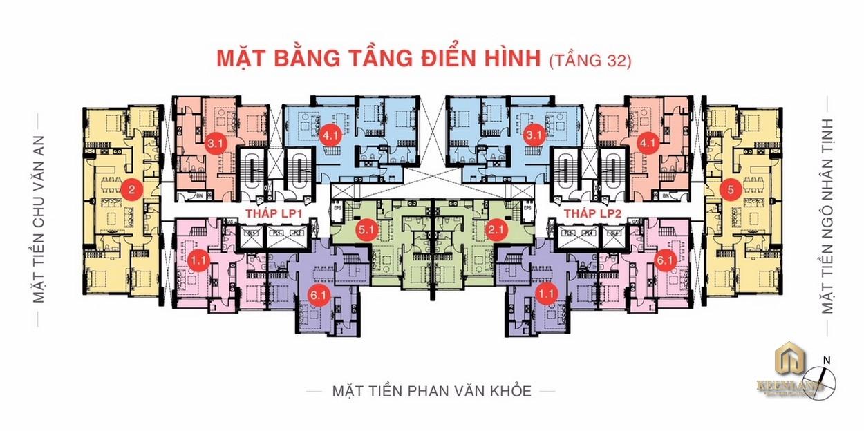 Mặt bằng tầng 32 dự án Lucky Palace