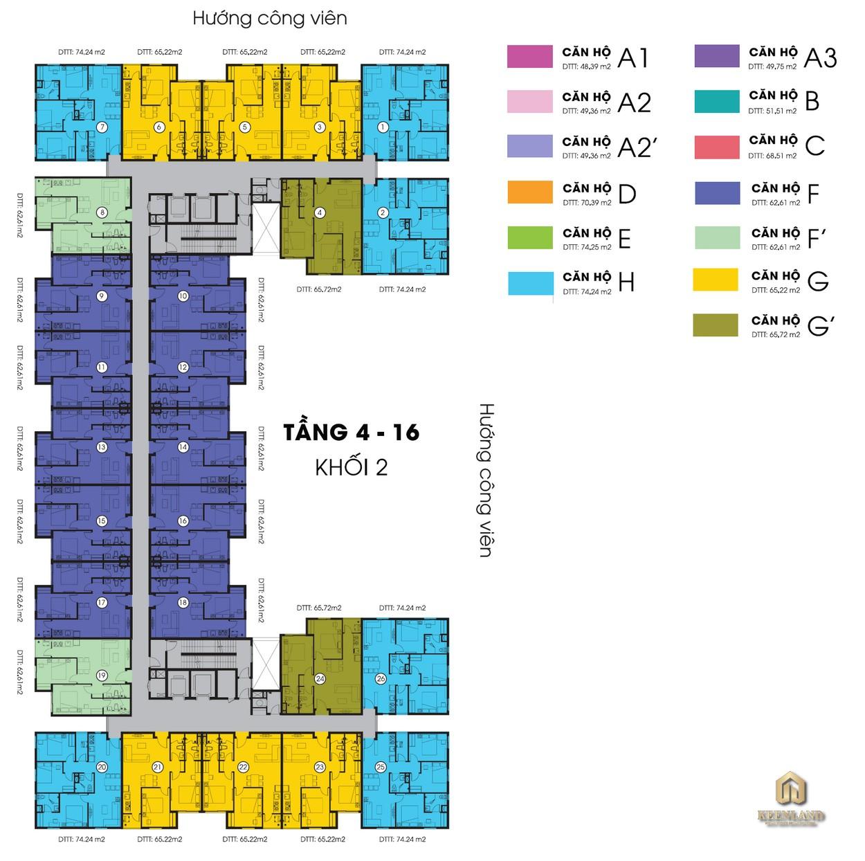 Mặt bằng tầng điển hình Block 2 chung cư Sky 9