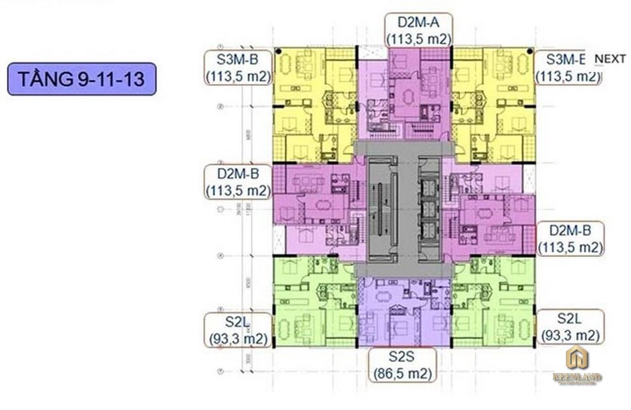 Mặt bằng tầng điển hình dự án New Pearl Residence Quận 3