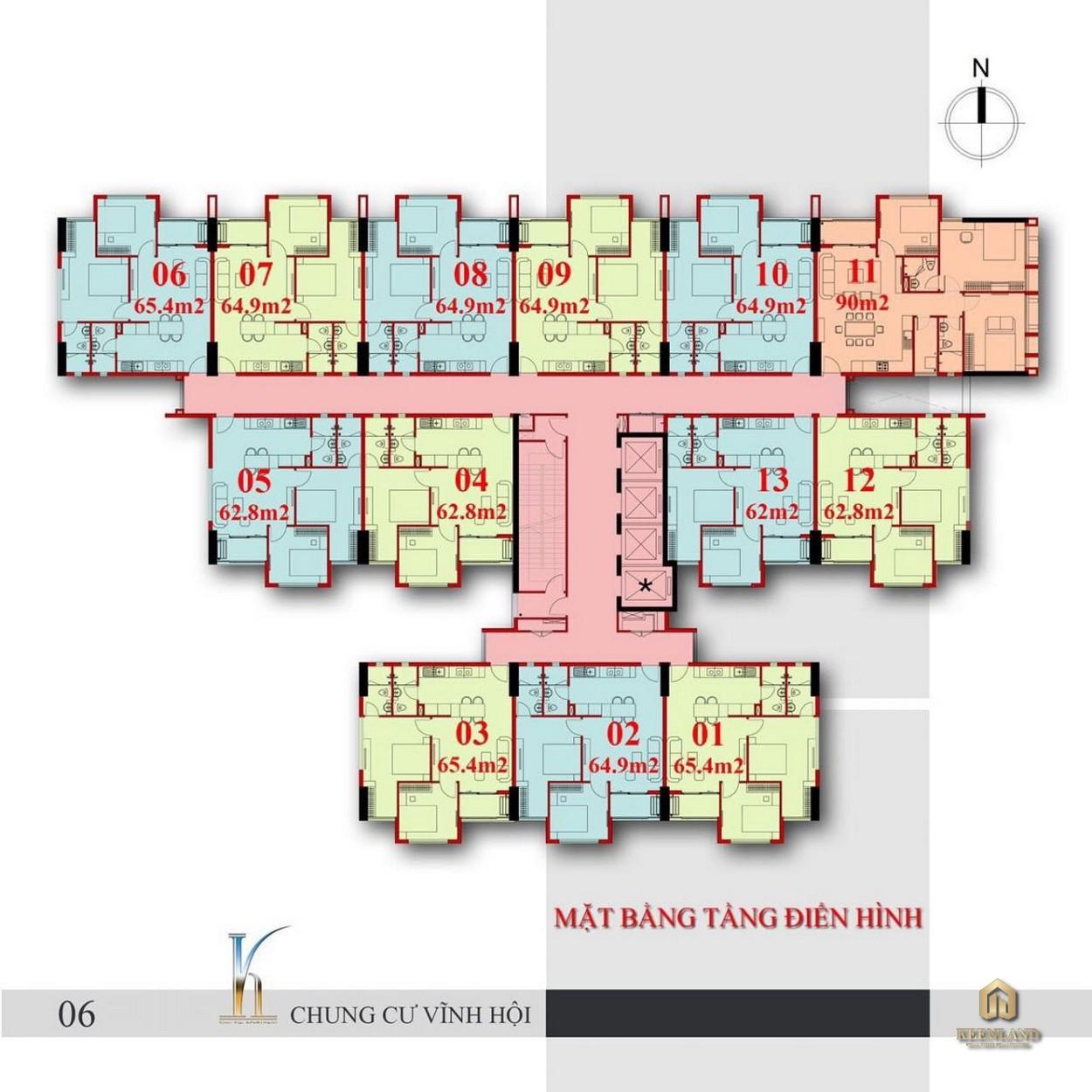 Mặt bằng tầng điển hình dự án chung cư Vĩnh Hội