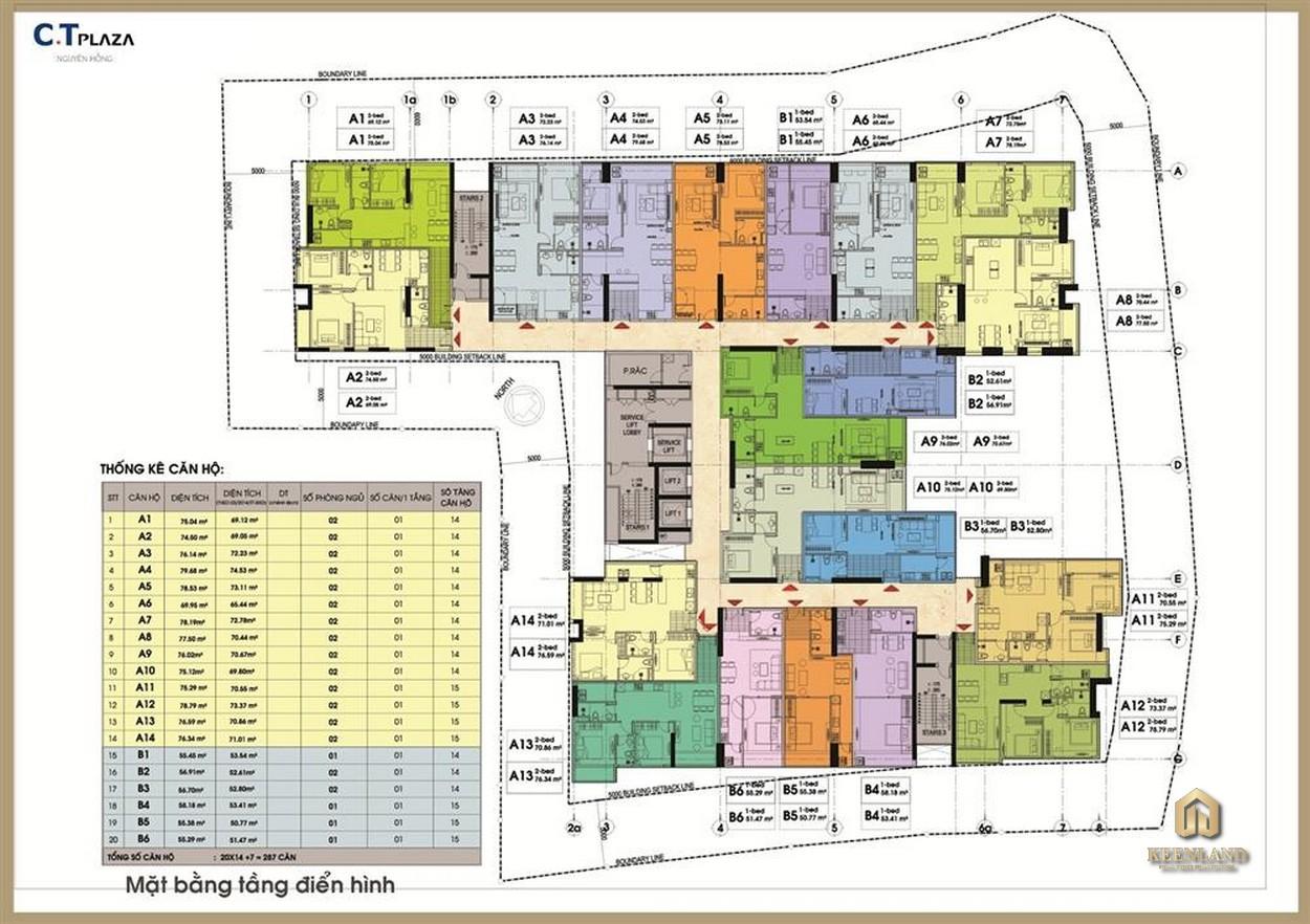 Mặt bằng tầng điển hình dự án C.T Plaza Minh Châu Quận 3