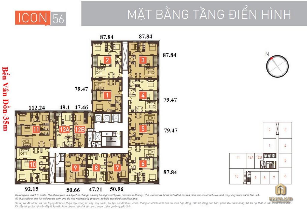Mặt bằng tầng 6 chung cư Icon 56