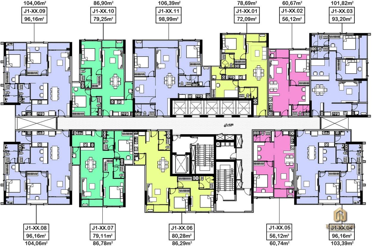 Mặt bằng tầng điển hình Tòa Jasmine 1