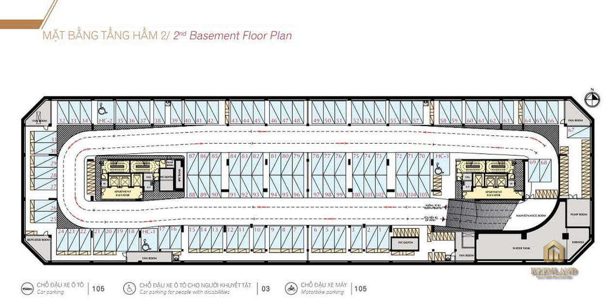Mặt bằng tầng hầm 2 dự án Urban Hill Phú Mỹ Hưng Quận 7