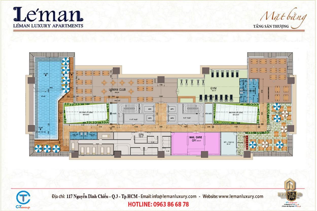 Mặt bằng tầng thượng dự án Léman Luxury Apartment