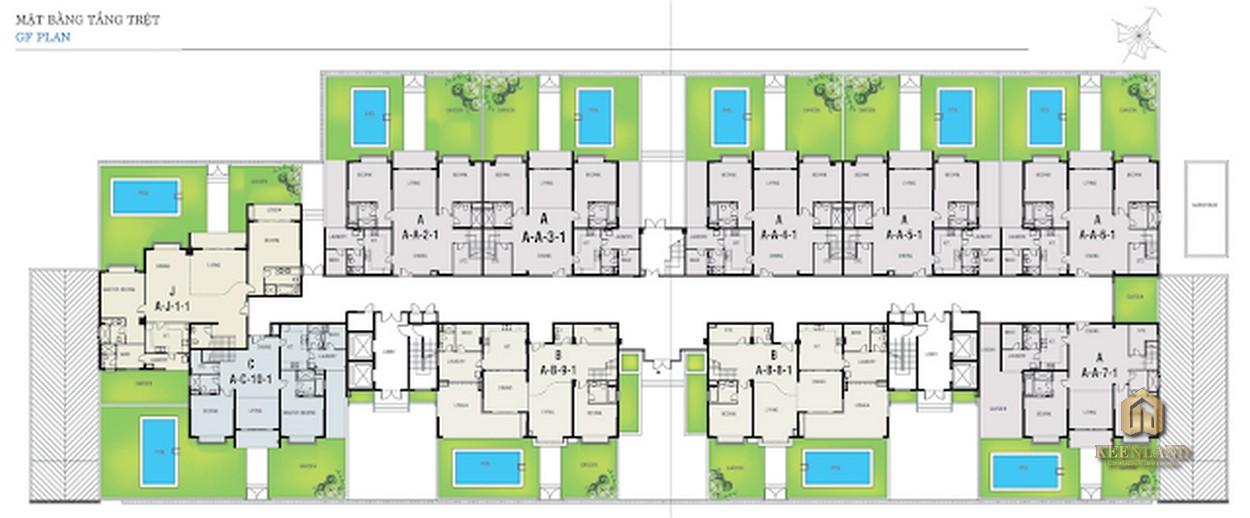 Mặt bằng tầng trệt Block A dự án Riverside Residence Quận 7