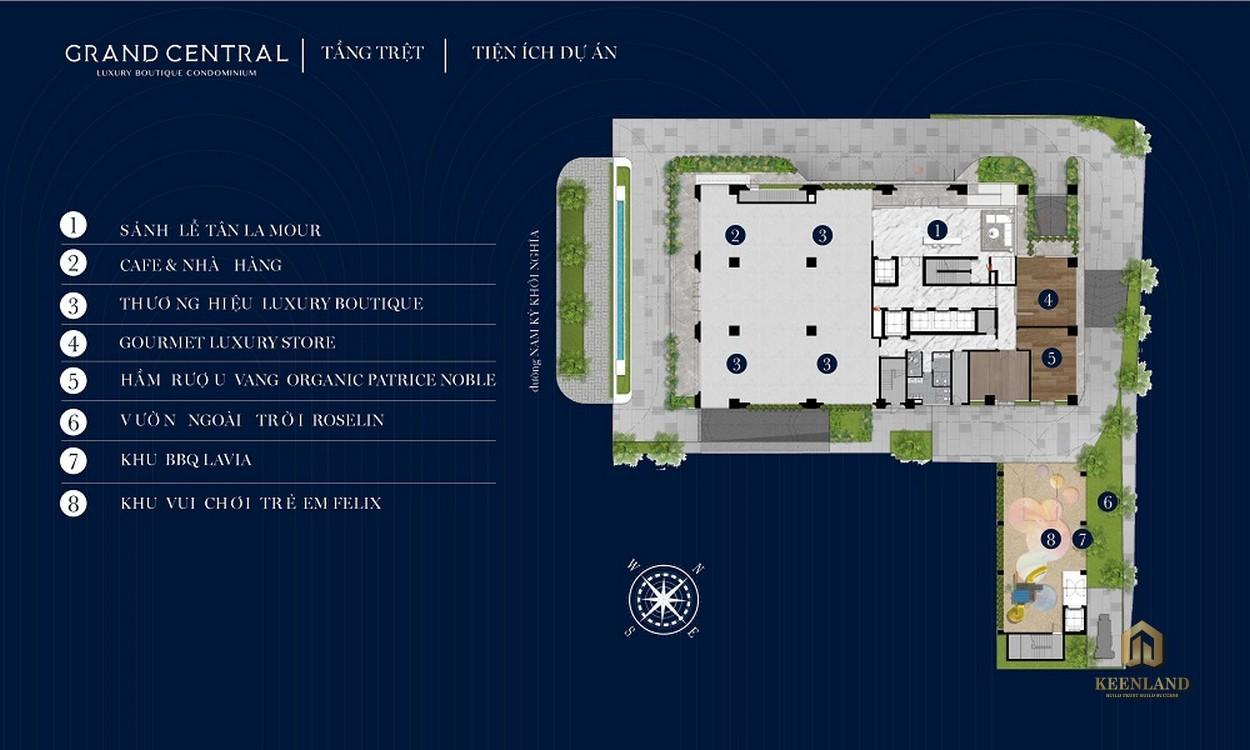 Mặt bằng tầng trệt dự án Grand Central Quận 3